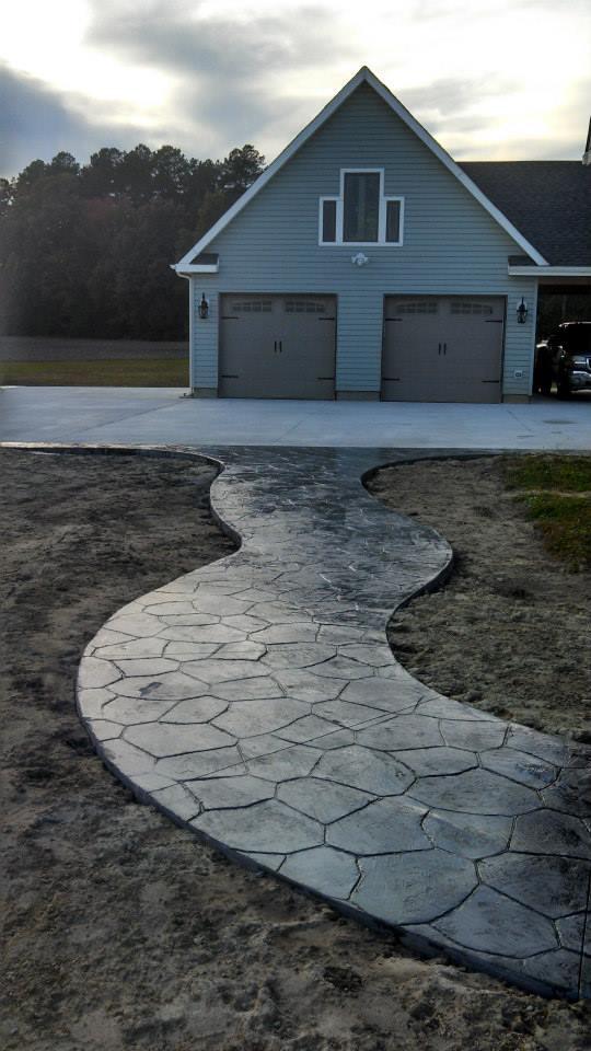 Curving stamped walkway