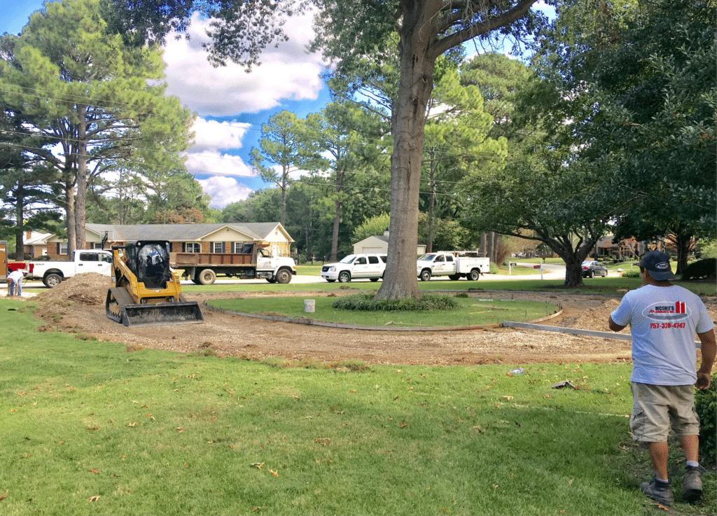 Circle driveway beginning
